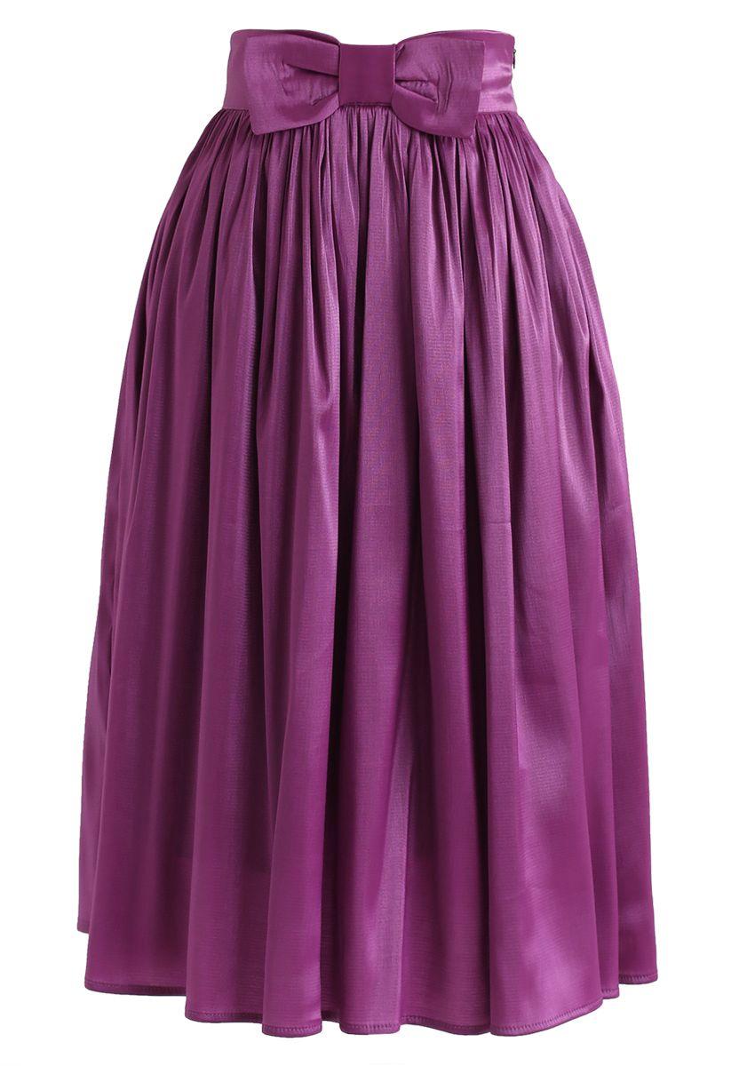 Bowknot Waist Pleated Midi Skirt in Violet