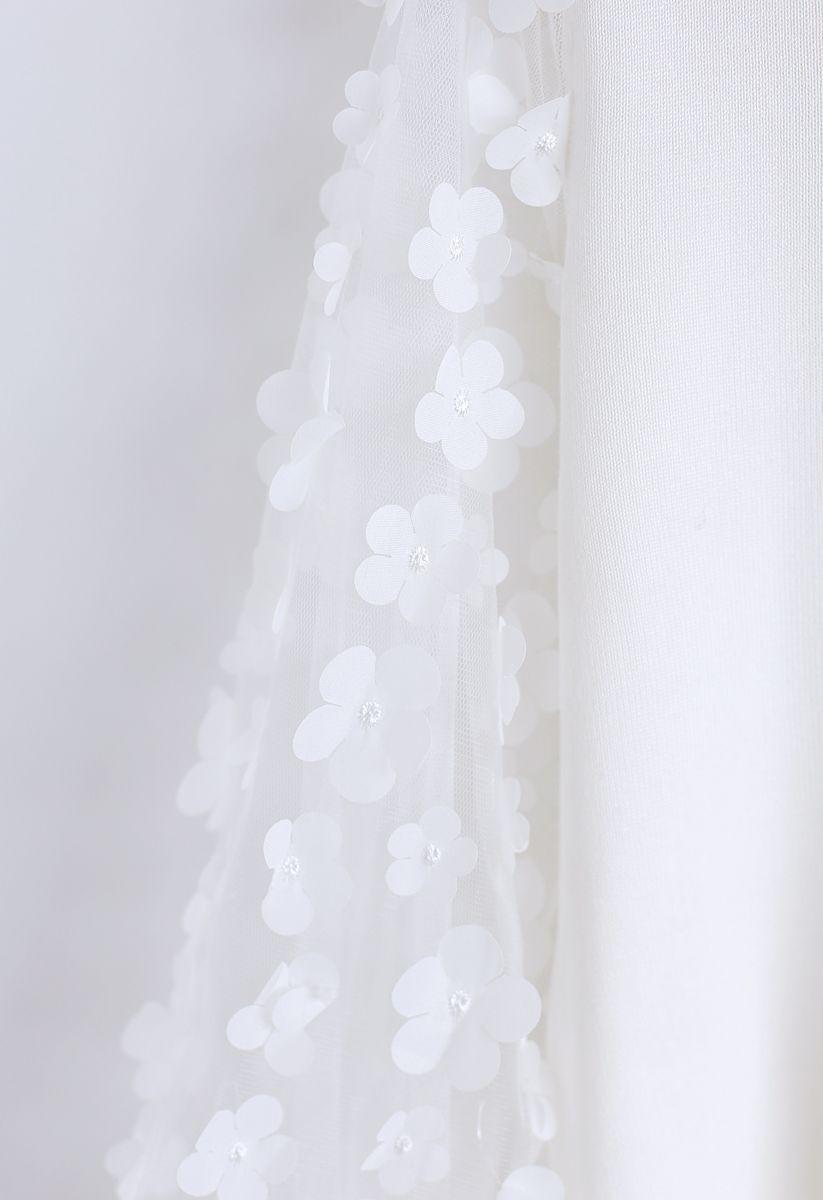 3D Flower Mesh Sleeves Knit Top in White