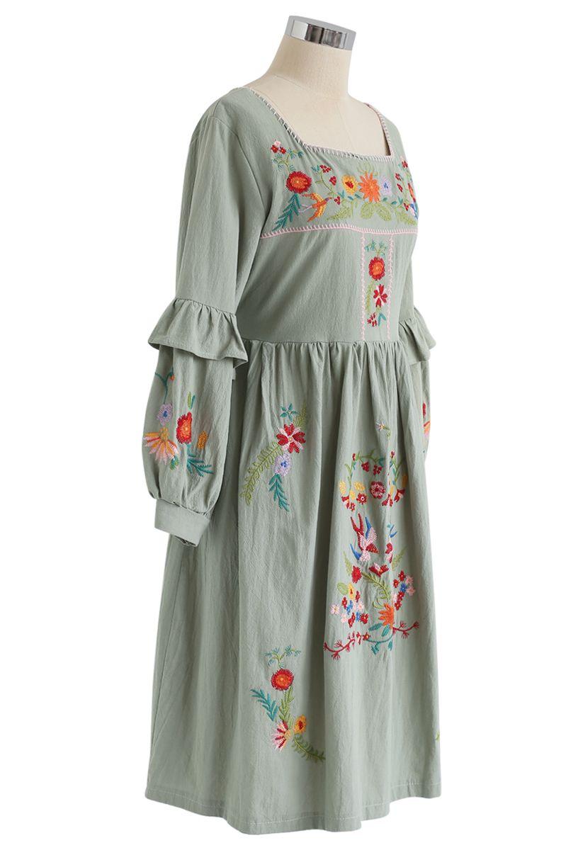 Square Neck Boho Embroidered Ruffle Dress