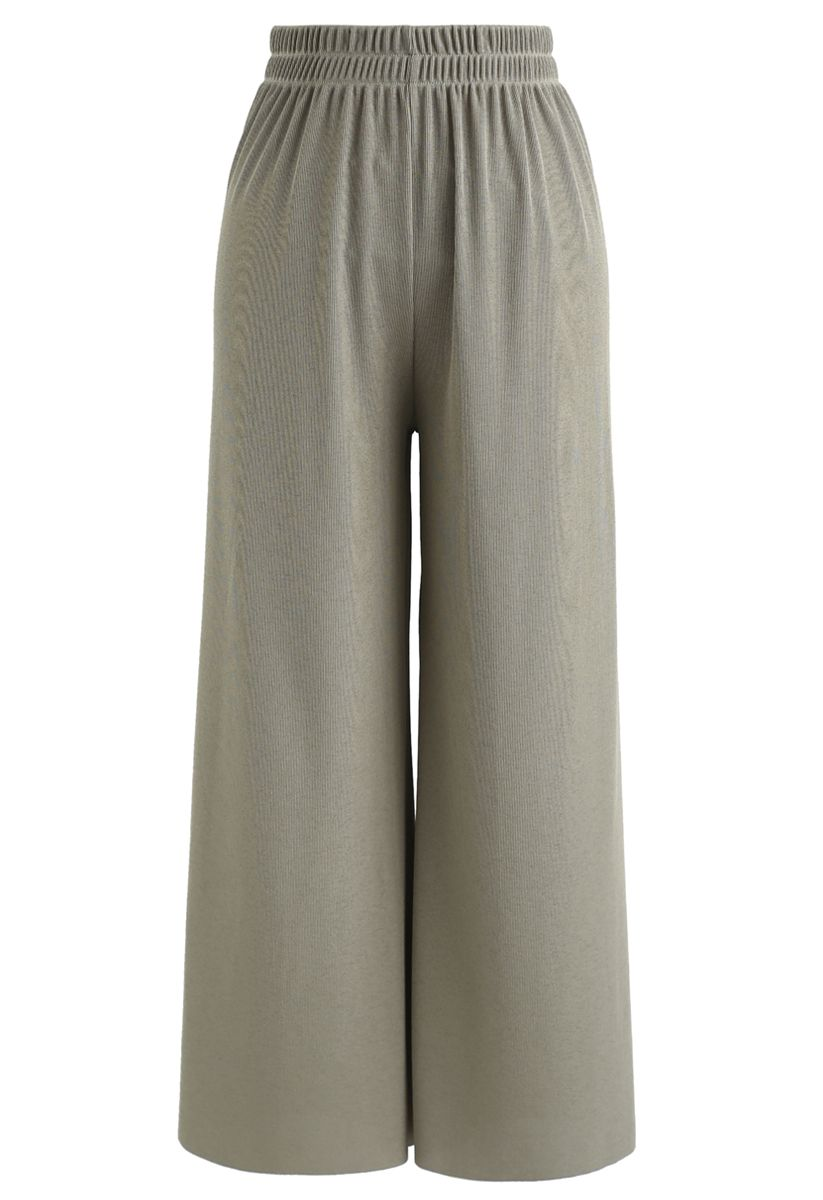 High-Waisted Ribbed Pants in Olive