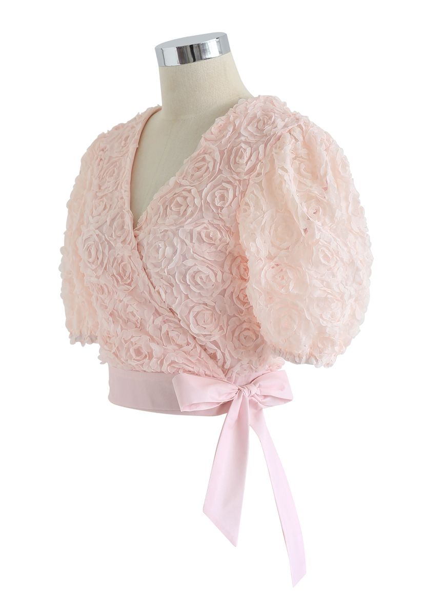 3D Roses Wrapped Crop Top in Nude Pink