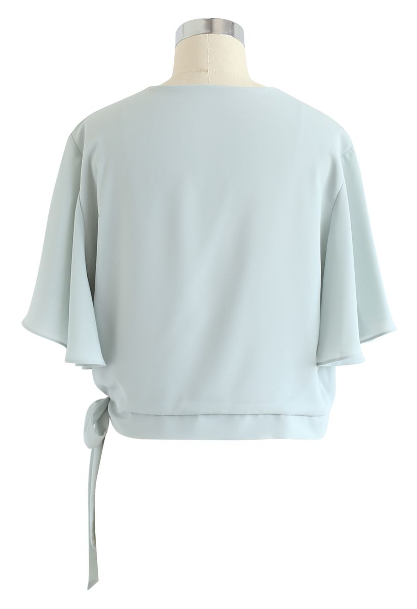 Bowknot Side Chiffon Cape Top in Mint