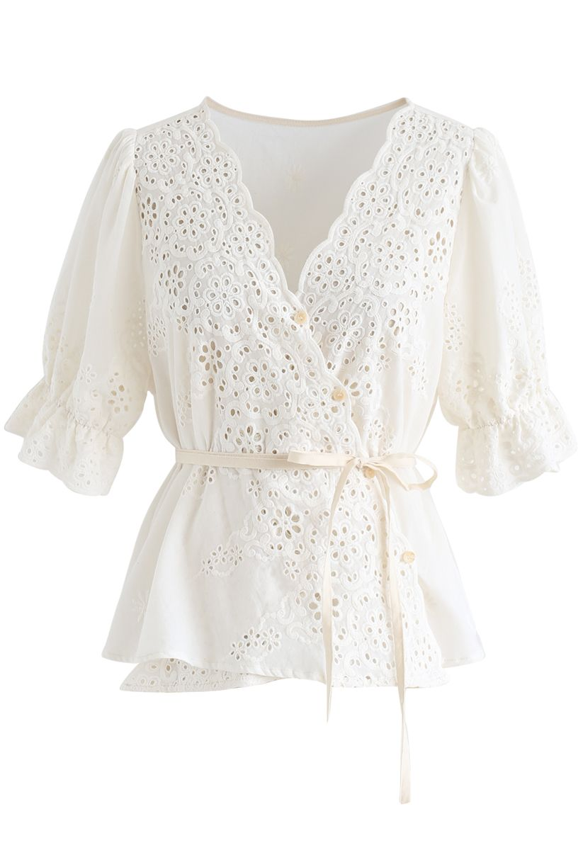 Buttoned Surplice Neck Embroidered Eyelet Top
