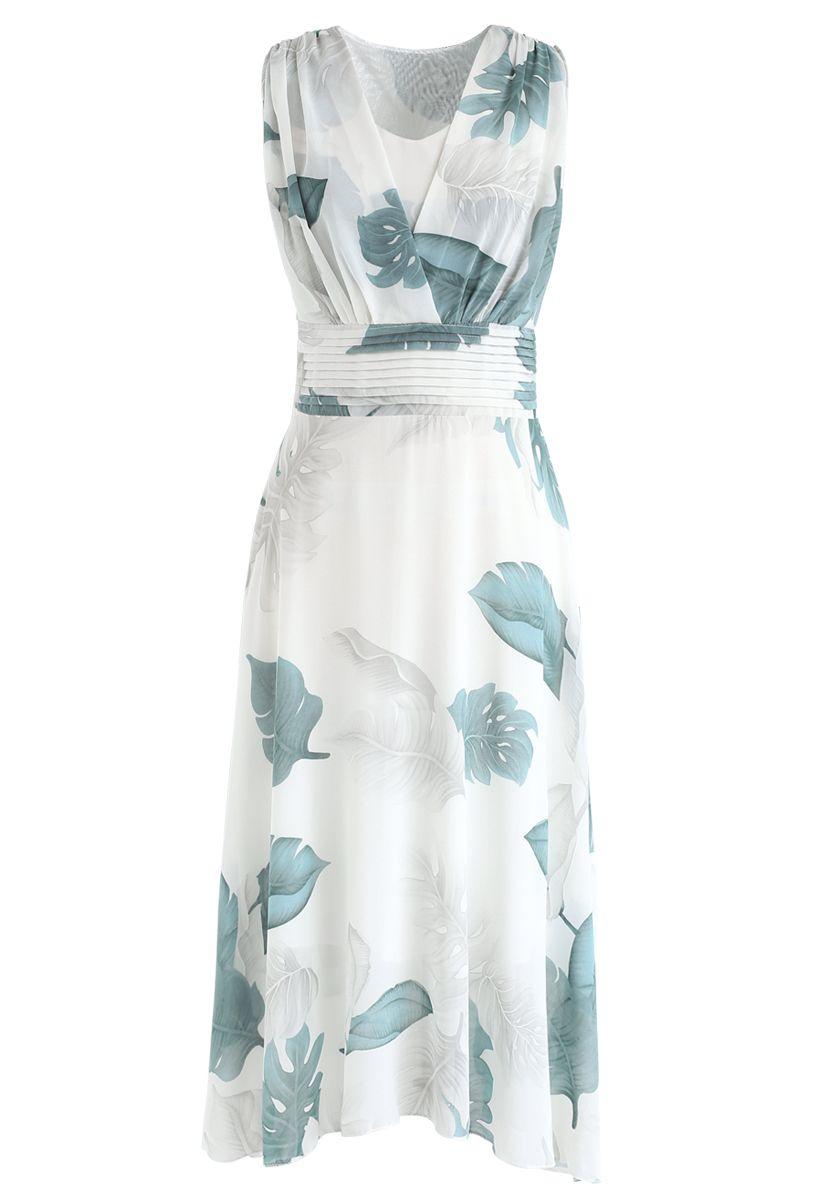 Green Tropical Leaf Pleated Sleeveless Chiffon Dress