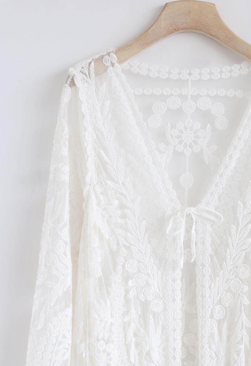 Embroidered Mesh Longline Kimono