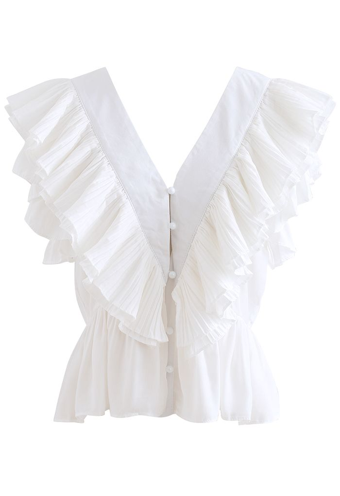 Pleated Ruffle Buttoned Deep V-Neck Crop Top in White