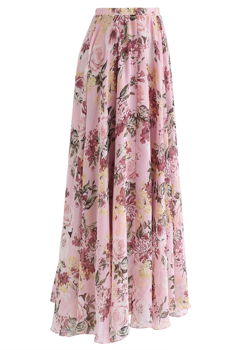 Bright-Colored Floral Maxi Skirt in Pink