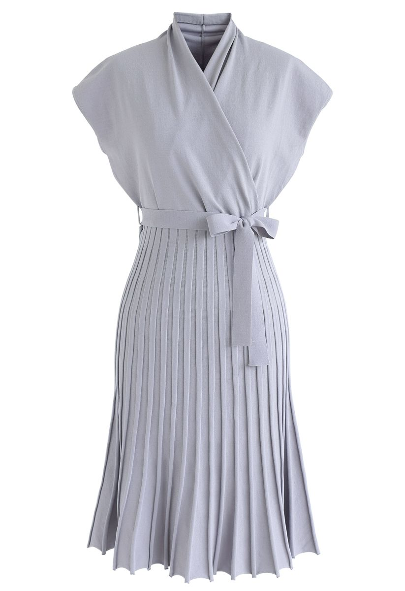 Pleated Sleeveless Wrapped Knit Dress in Lavender