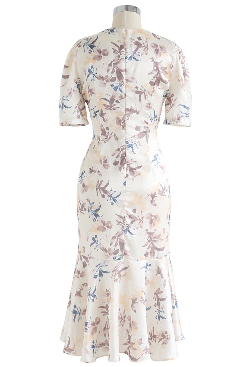 Flounced Hem Drawstring Floral Dress in Cream