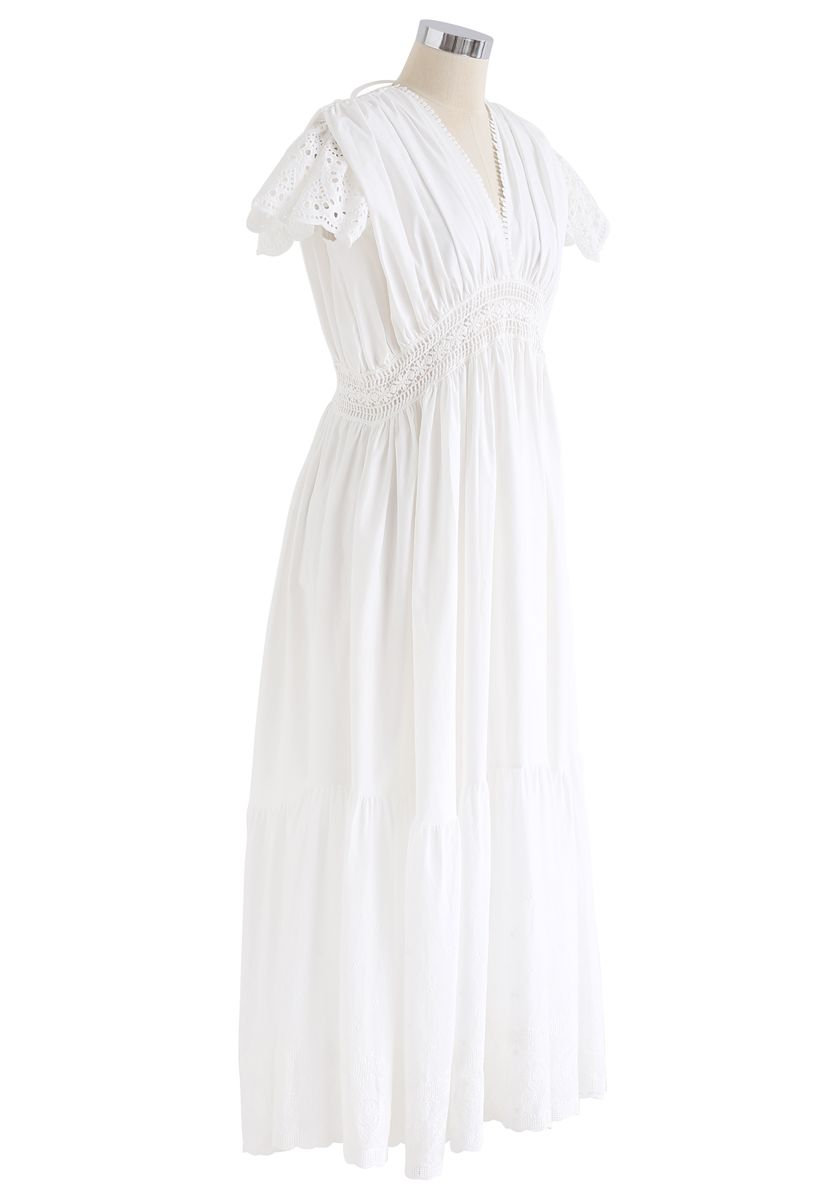 Frill Hem Plunging V-Neck Sleeveless Maxi Dress in White