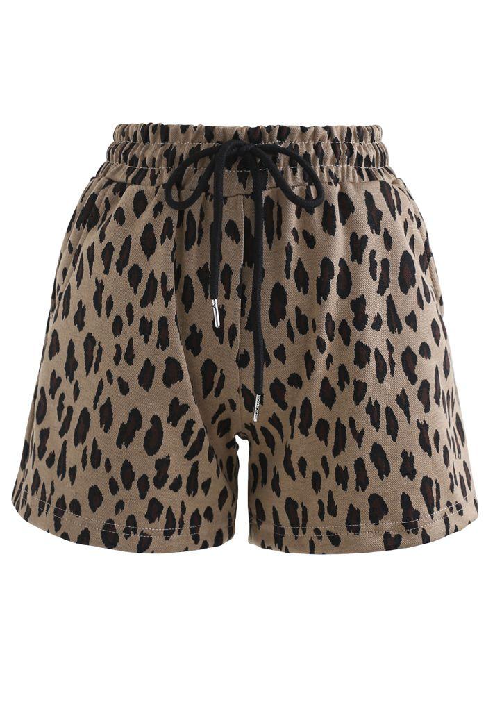 Leopard Print Drawstring Pockets Shorts in Caramel