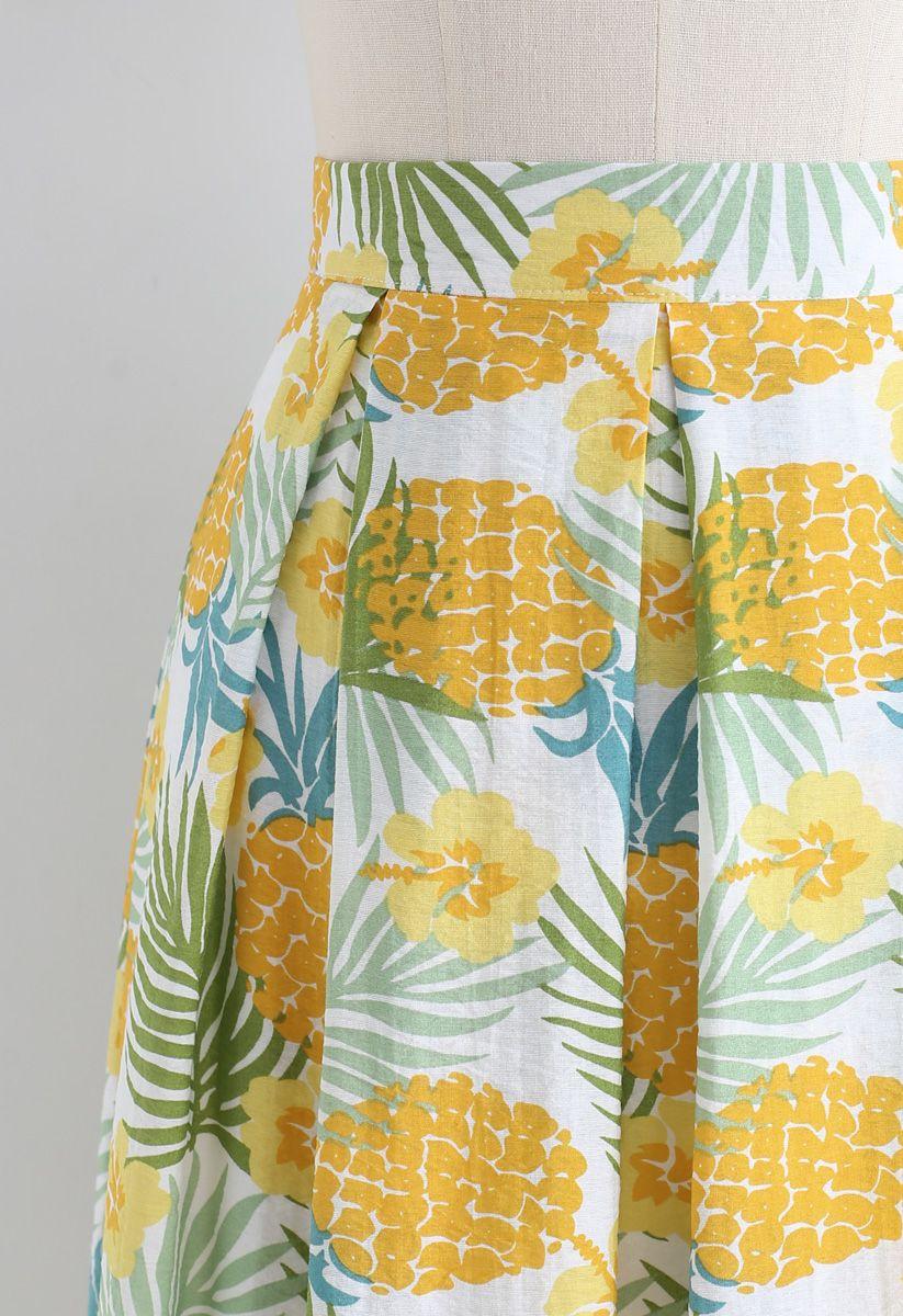 Pineapple Print A-Line Midi Skirt