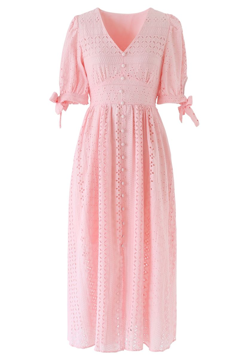 Geo Eyelet Embroidered Button Down V-Neck Midi Dress in Peach