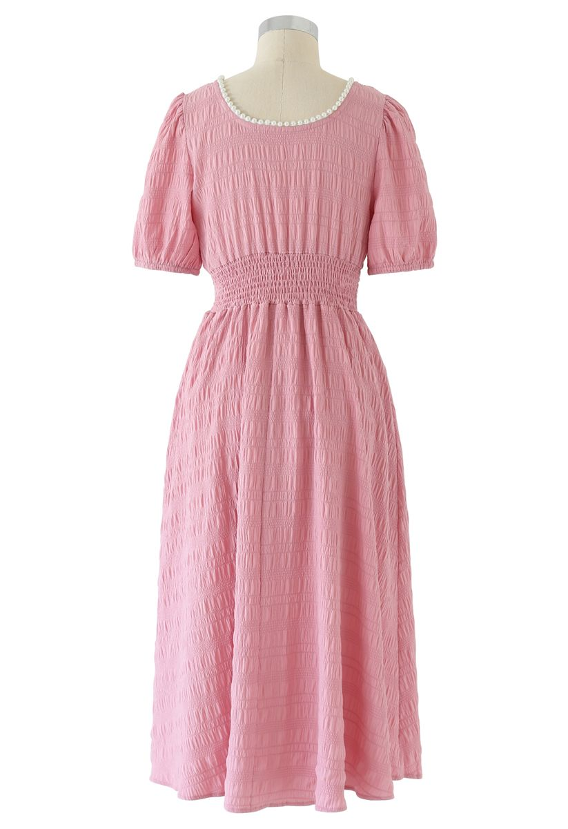 Pearl Trim Round Neck Midi Dress in Pink