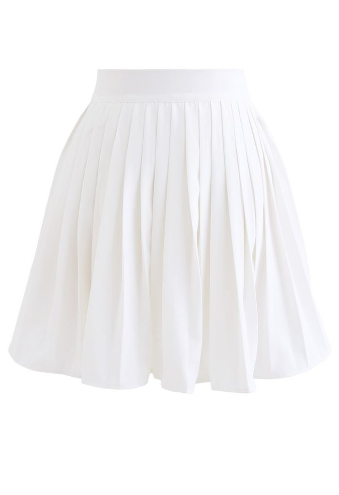 Pleated Skater Skirt in White