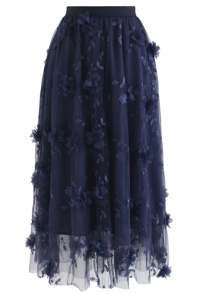 3D Mesh Flower Embroidered Tulle Midi Skirt in Navy