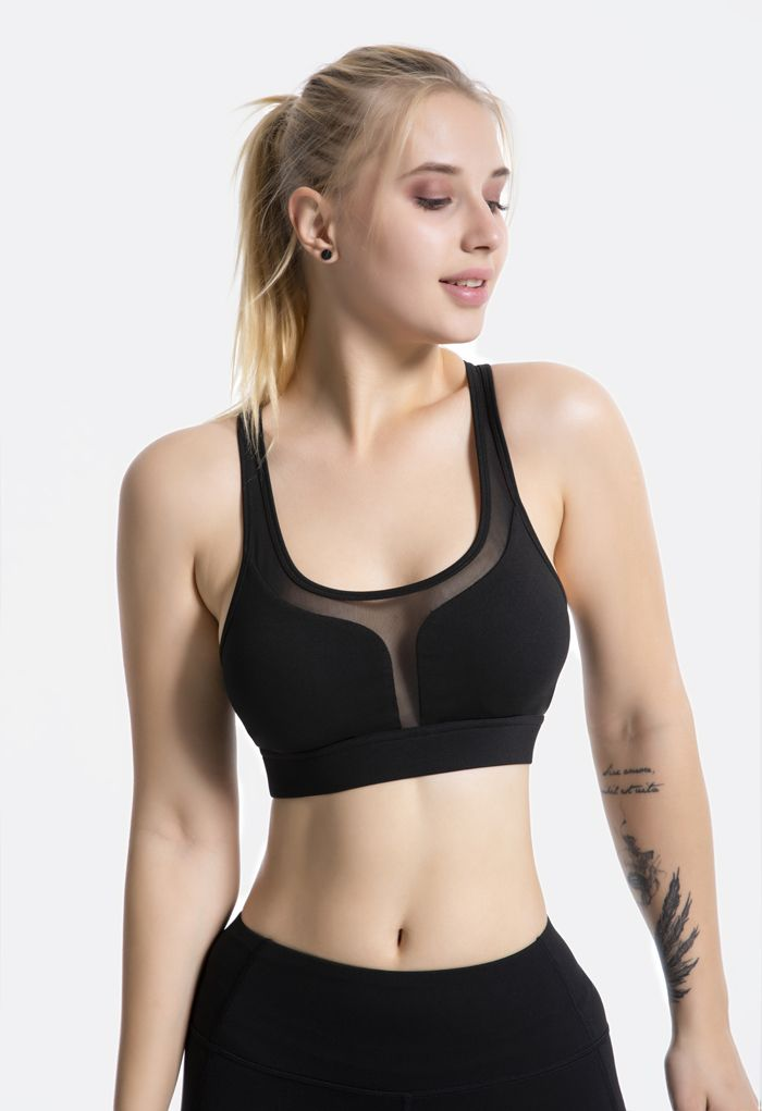 I-Shaped Back Pocket Mesh-Insert Low-Impact Sports Bra in Black