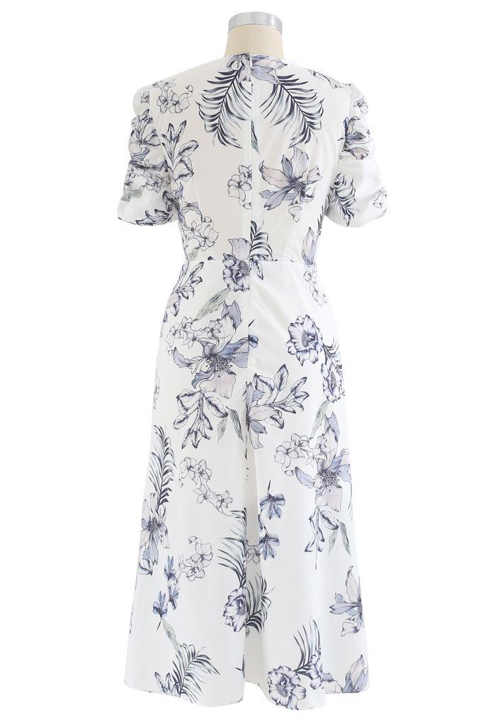 Glamorous Floral Print Drawstring Midi Dress