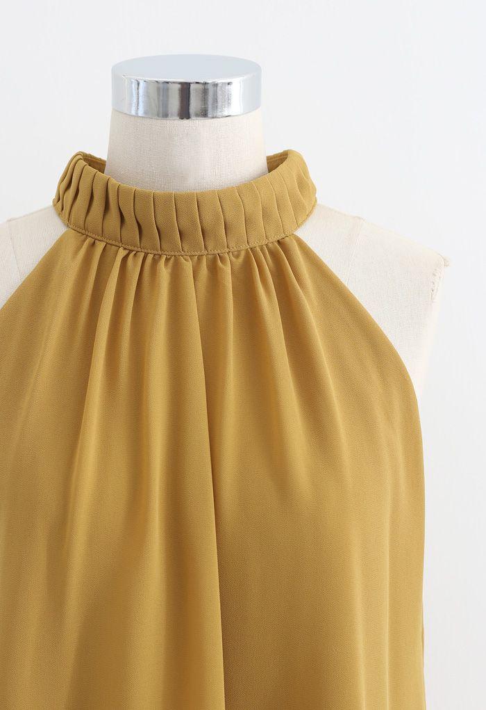 Pleats Embellished Halter Top in Mustard