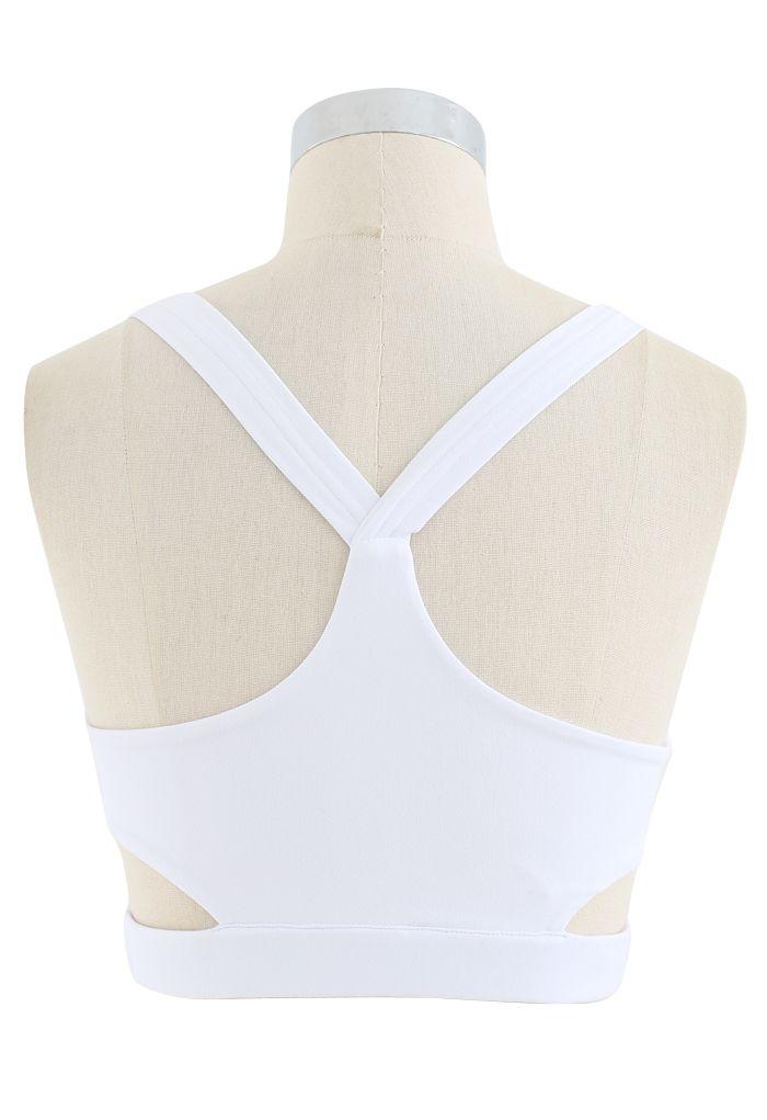Wrap Design Low-Impact Sports Bra in White