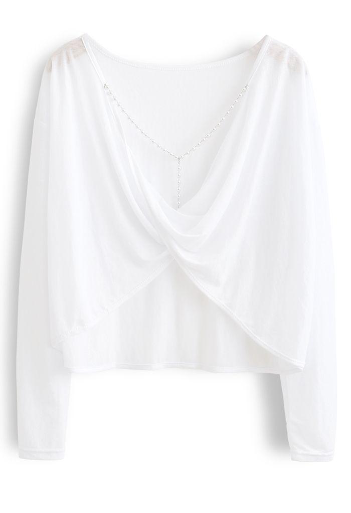 Pearl Trim Twist Open Back Crop Top in White