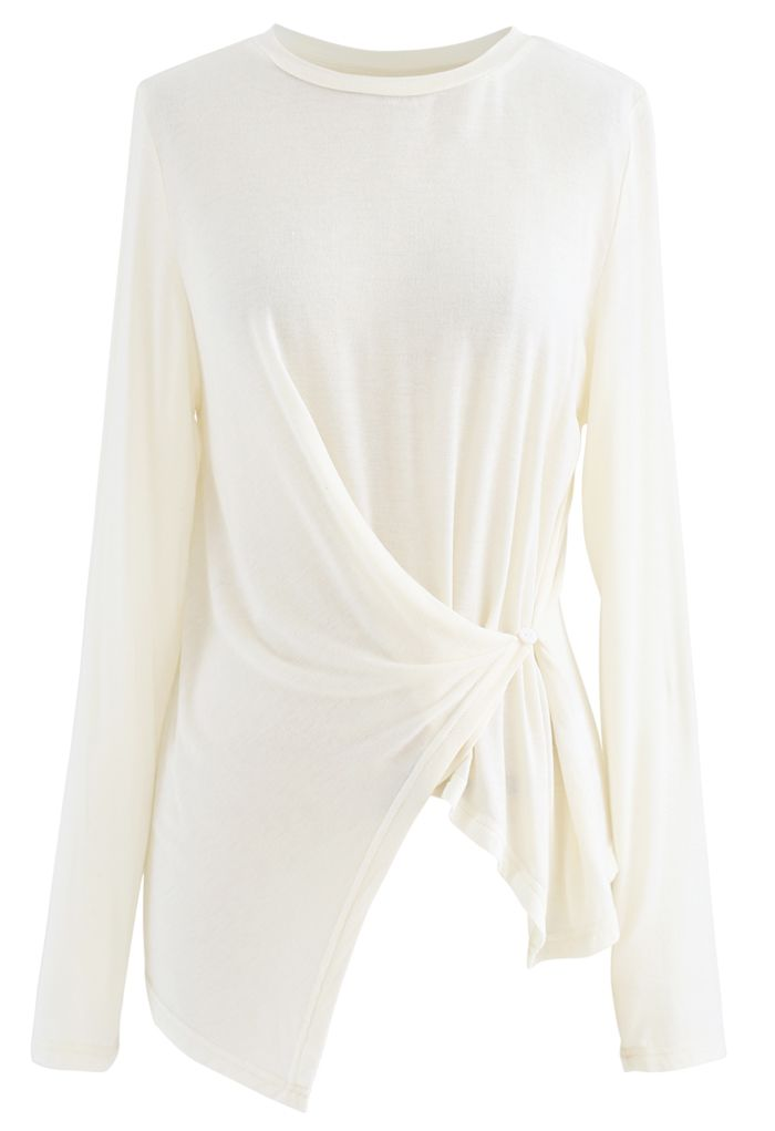 Side Button Sleeves Asymmetric Top in Ivory