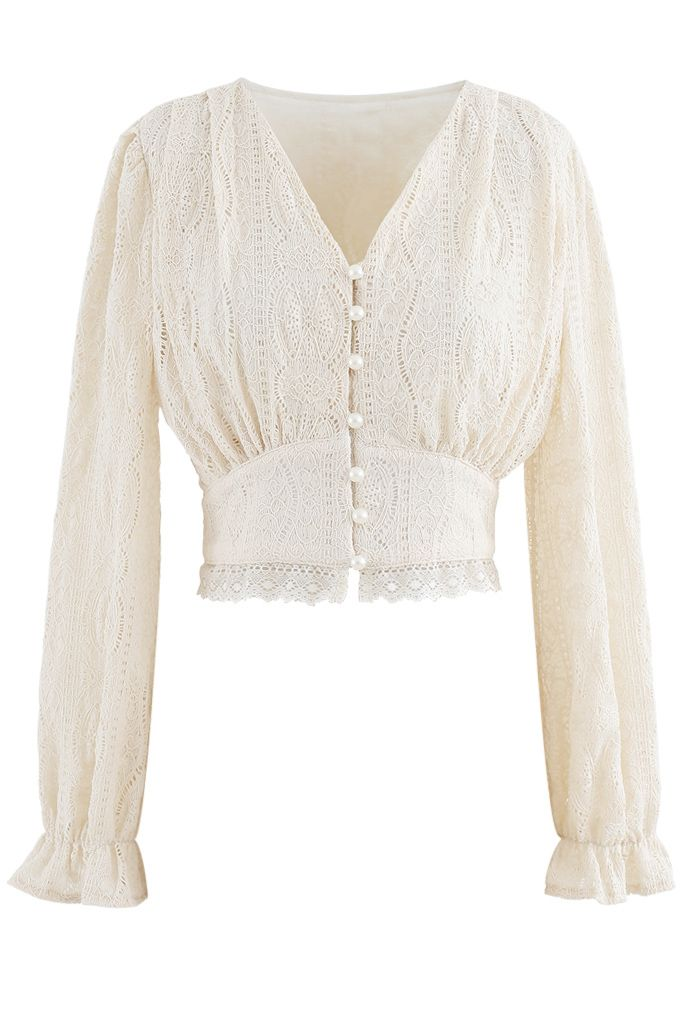 V-Neck Pearl Button Lace Top in Cream