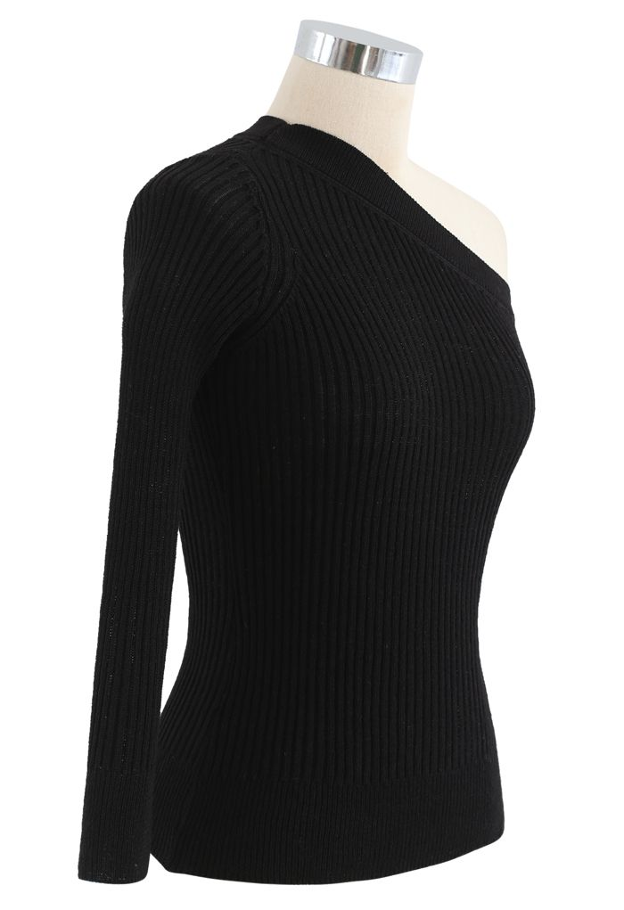 Fitted One Shoulder Ribbed Knit Top in Black