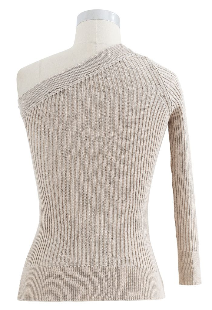 Fitted One Shoulder Ribbed Knit Top in Sand