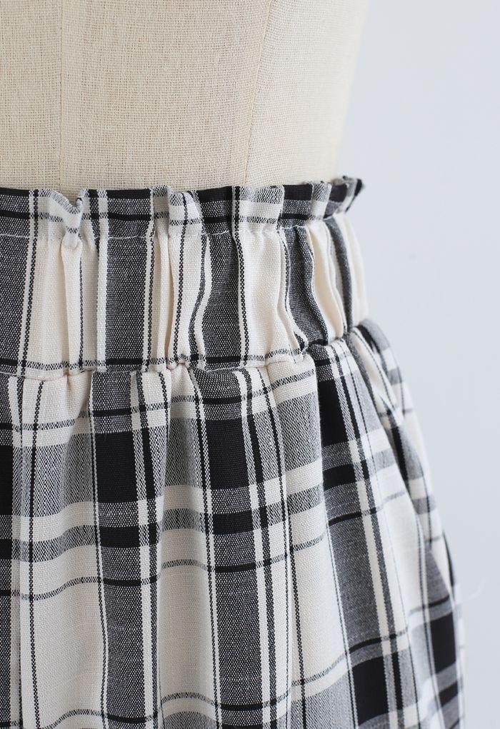 Plaid Pattern Pocket Wide-Leg Pants