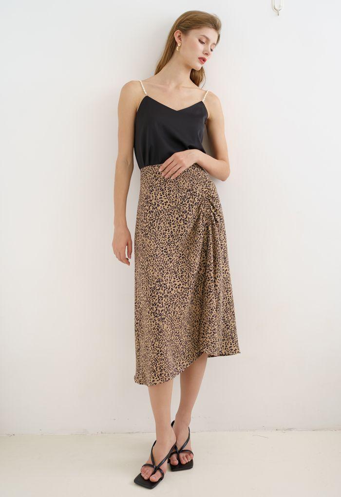 Animal Print Side Ruched Midi Skirt in Caramel