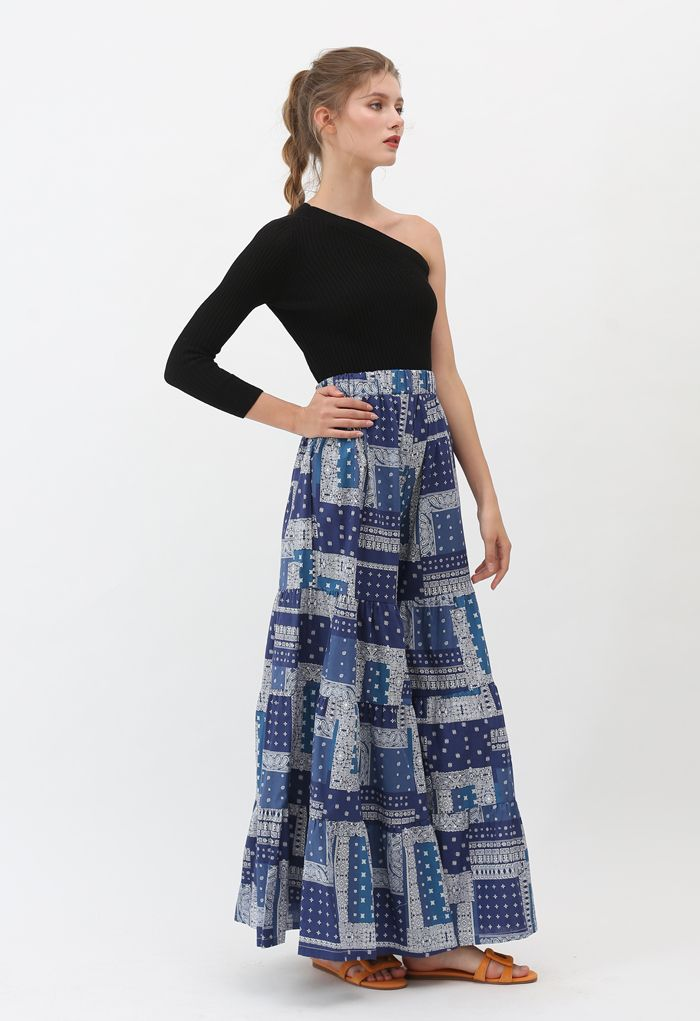 Paisley Tribal Wide-Leg Pants in Navy