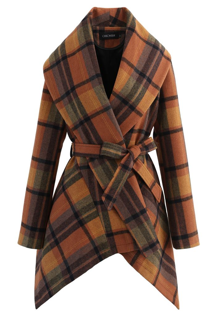 Plaid Pattern Rabato Coat in Caramel