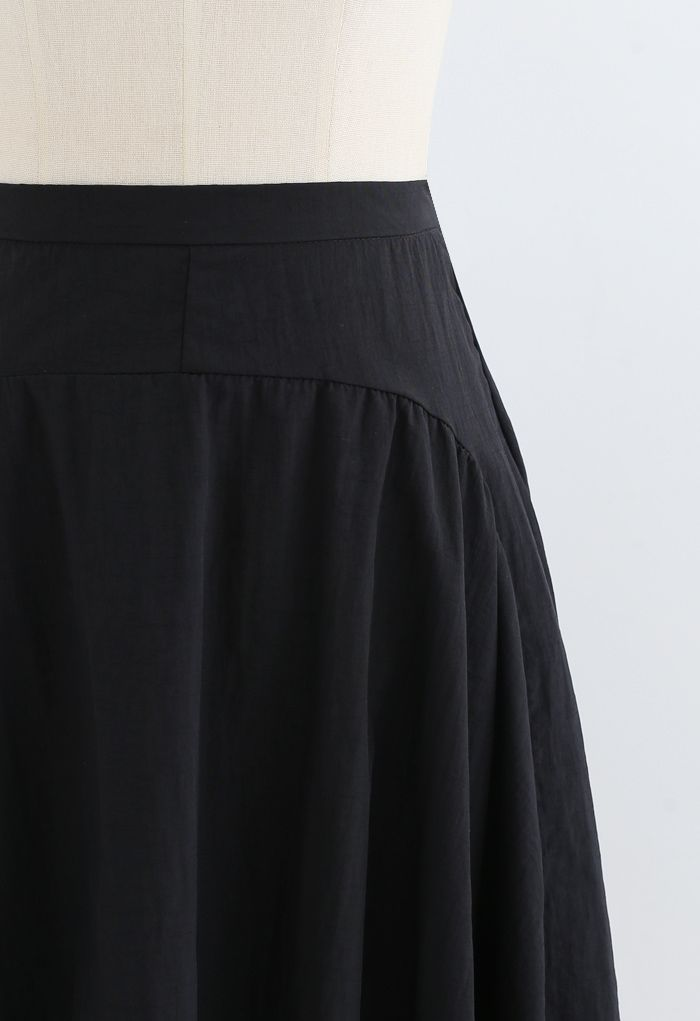 A-Line Asymmetric Flare Hem Midi Skirt in Black