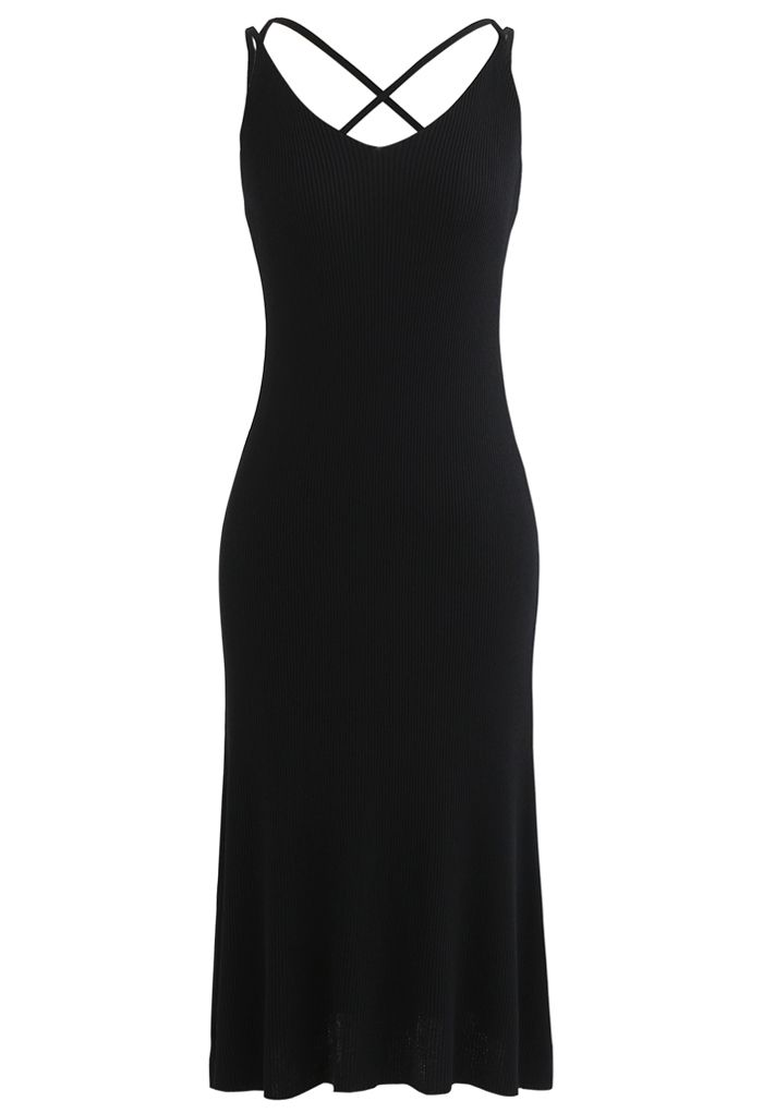 Fitted Ribbed Knit Cami Dress in Black