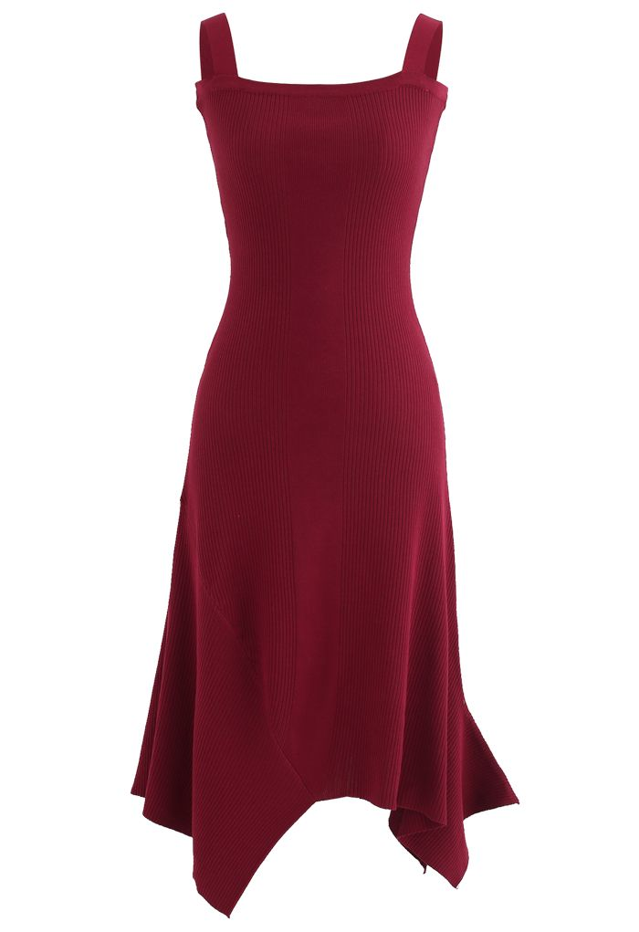 Asymmetric Hem Ribbed Knit Cami Dress in Red