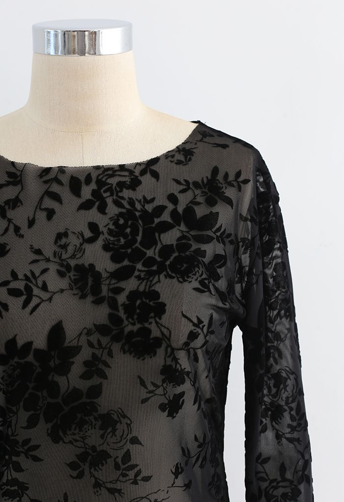 Full Flower Trim Mesh Top in Black