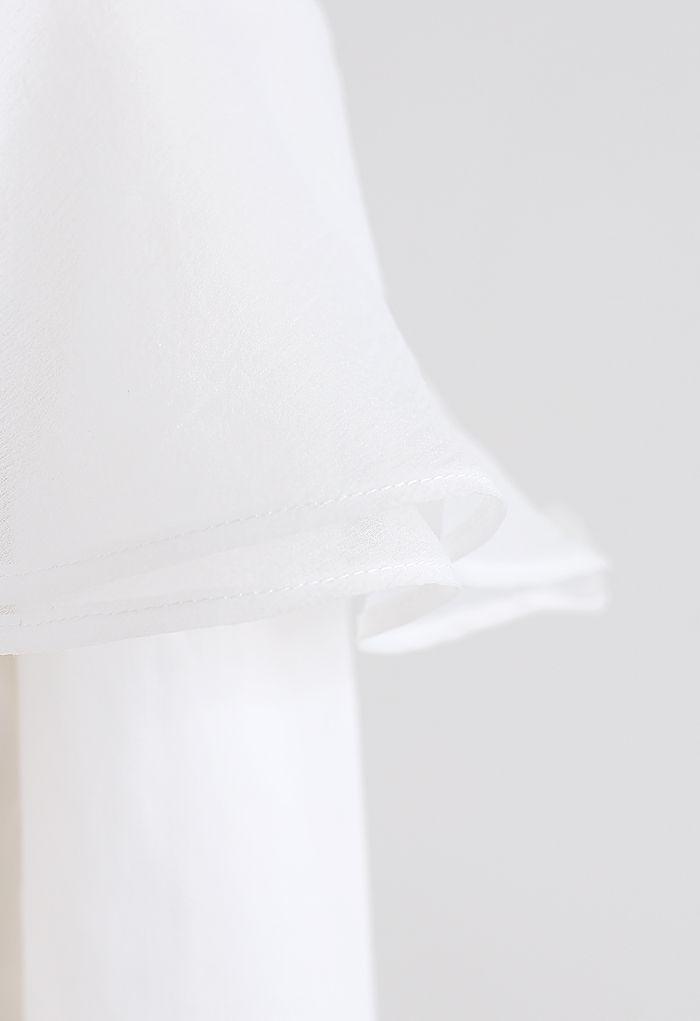 Organza Ruffle Off-Shoulder Sleeves Top