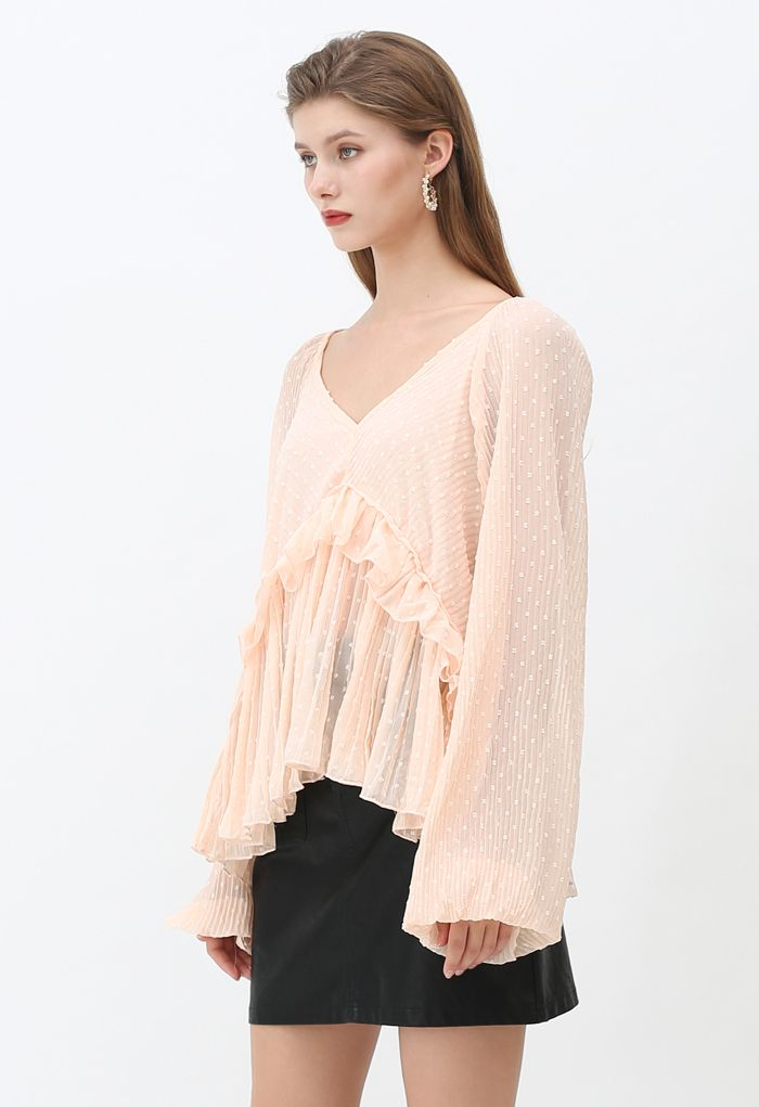 Flock Dots V-Neck Puff Sleeves Pleated Top