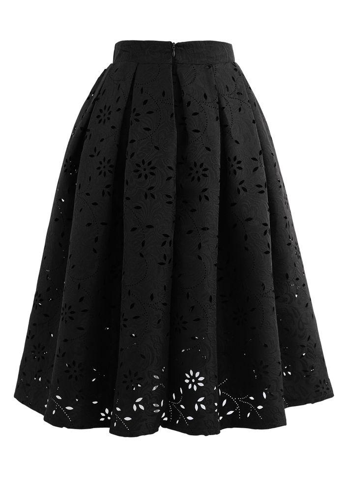 Floral Cutwork Jacquard Midi Skirt in Black