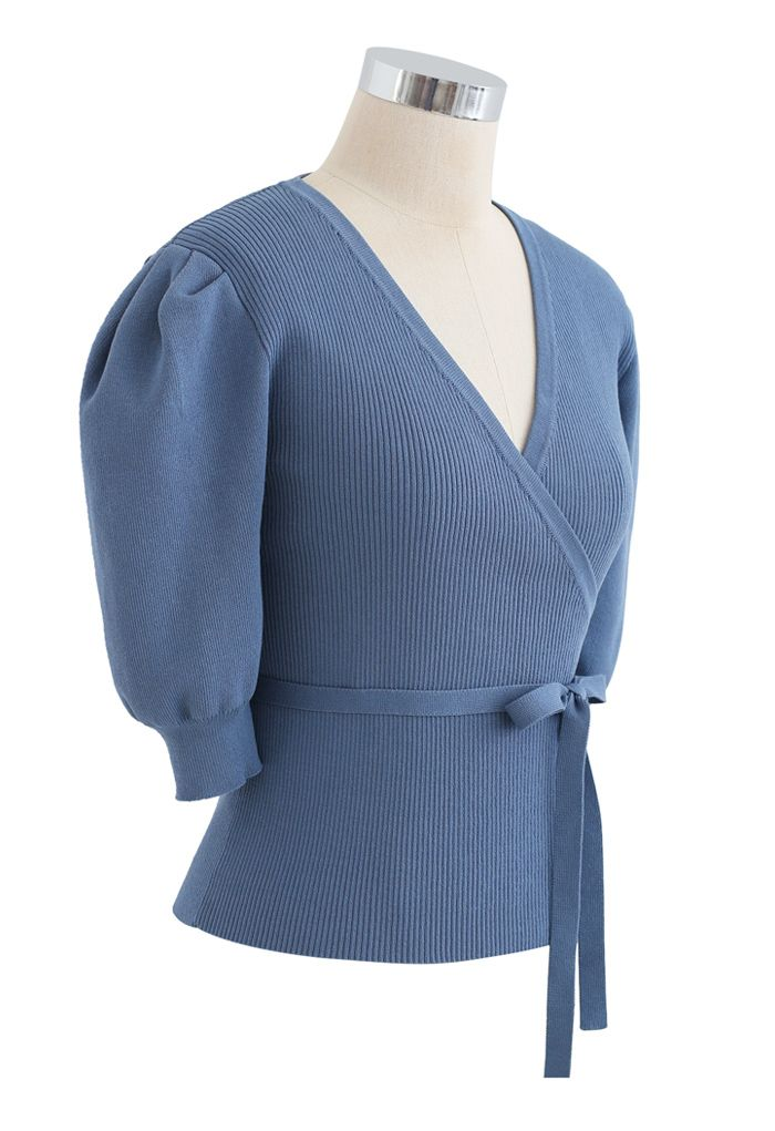 Bubble-Sleeve Wrapped Ribbed Knit Top in Blue