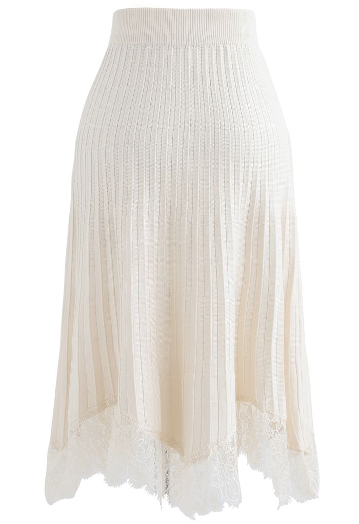 Lace Trim Pleated Knit Midi Skirt in Cream