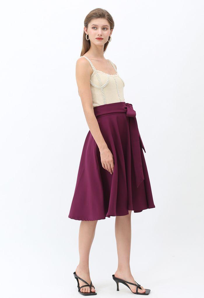 Flare Hem Bowknot Waist Midi Skirt in Plum