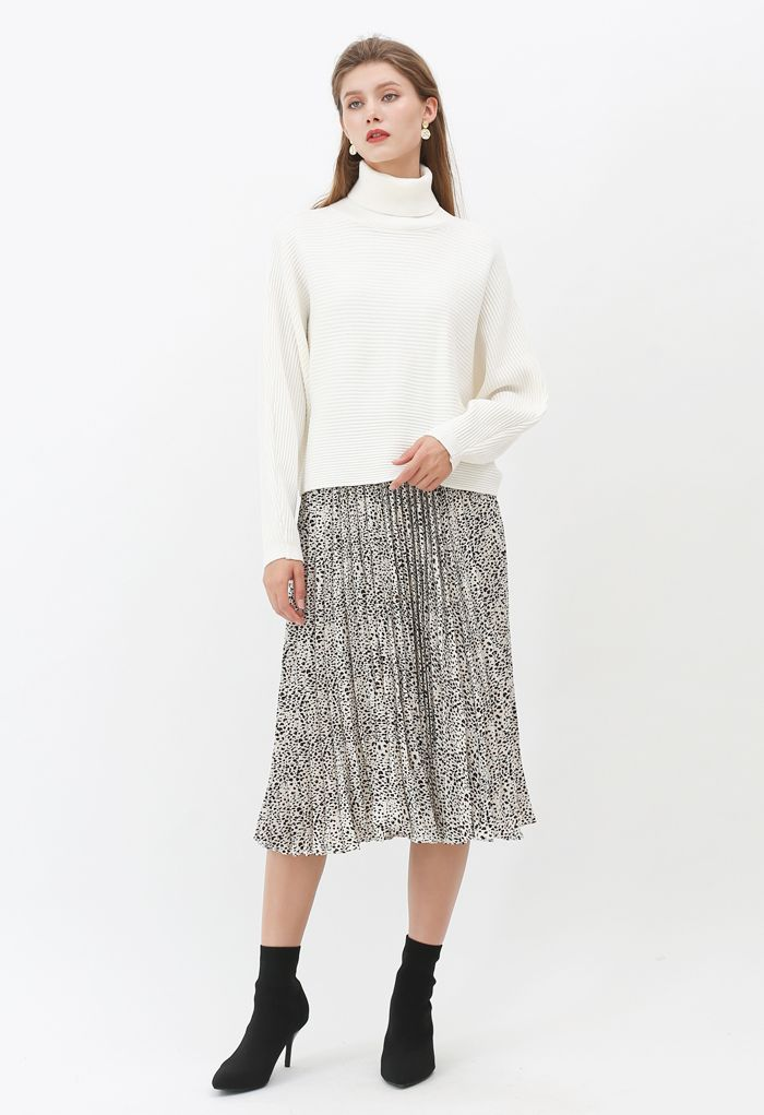 Basic Rib Knit Cowl Neck Crop Sweater in White