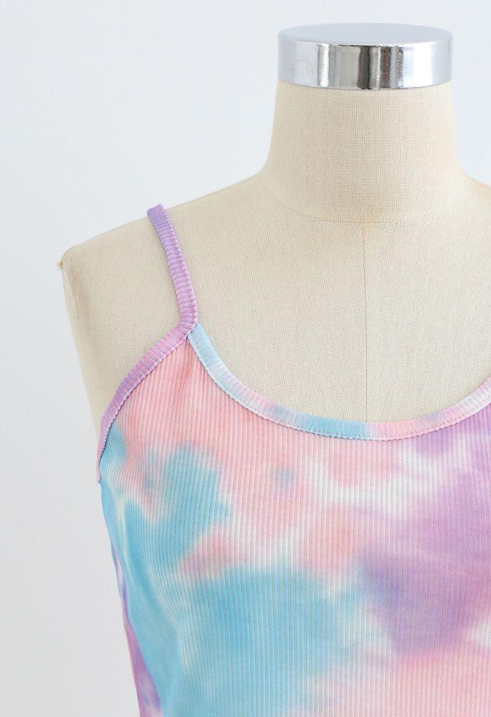 Tie-Dye Crop Tank Top in Purple