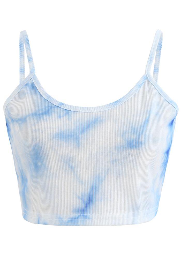 Tie-Dye Crop Tank Top in Blue