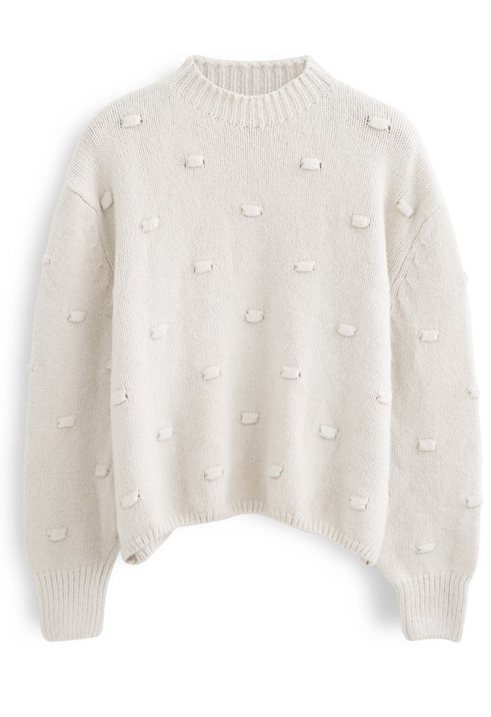 3D Dot High Neck Knit Sweater in Cream