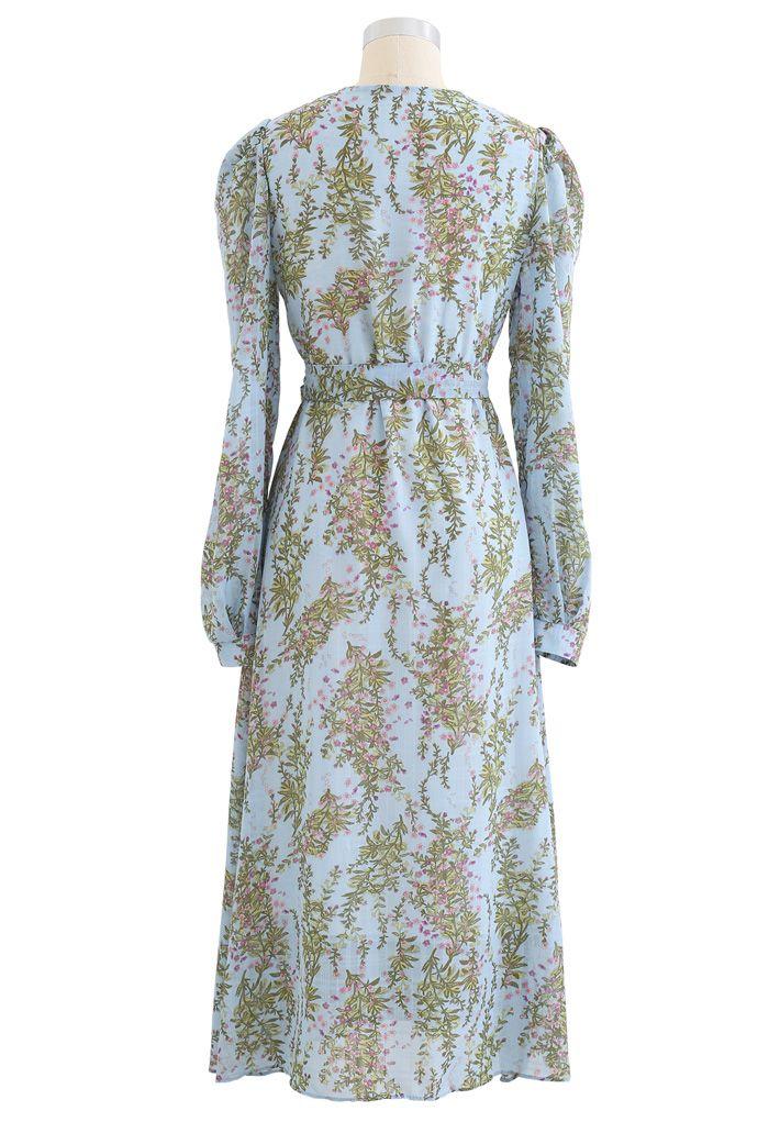 Floral Wrap Bowknot Chiffon Dress in Blue