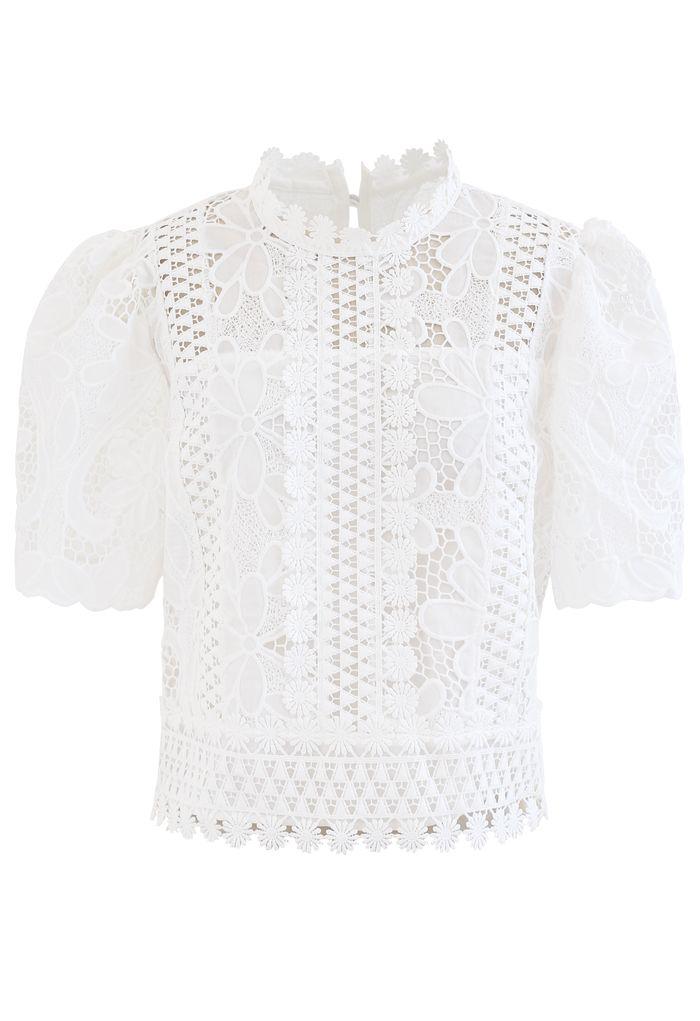 Panelled Sunflower Crochet Crop Top in White