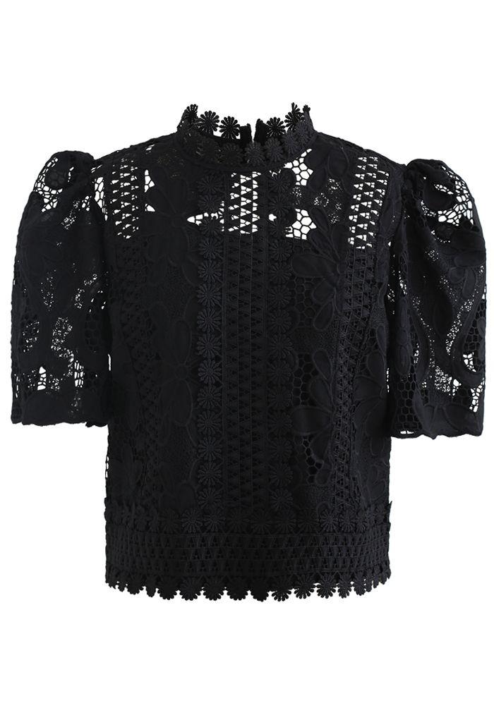 Panelled Sunflower Crochet Crop Top in Black